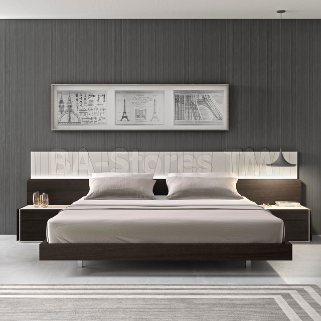 Porto Light Grey Lacquerwenge Bed With Led Lights Modern Beds