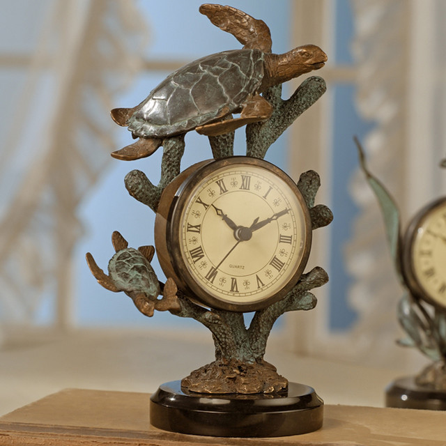 Turtle Table Clock Tropical Clocks Atlanta By Iron