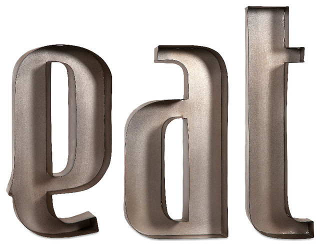 Silver Letters Wall Decor : Contemporary style silver eat metal wall letters home