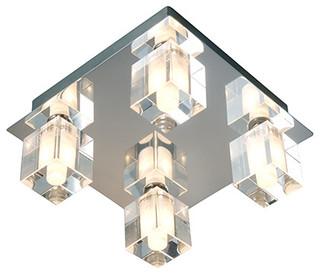 Square Bathroom Ceiling Light CHROME