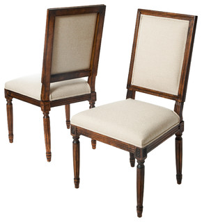 martin dark wood frame khaki fabric dining chairs set of