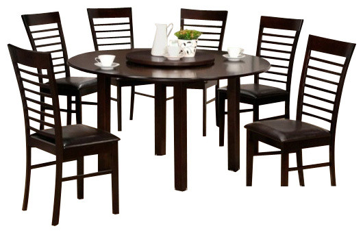 7 piece olivia collection round espresso finish wood for 10 piece kitchen table set