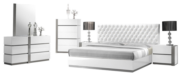 seville bedroom set collection with leather like headboard