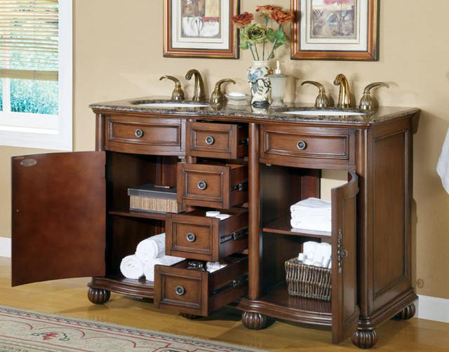 Accord antique 52 inch double sink bathroom vanity - 52 inch bathroom vanity double sink ...