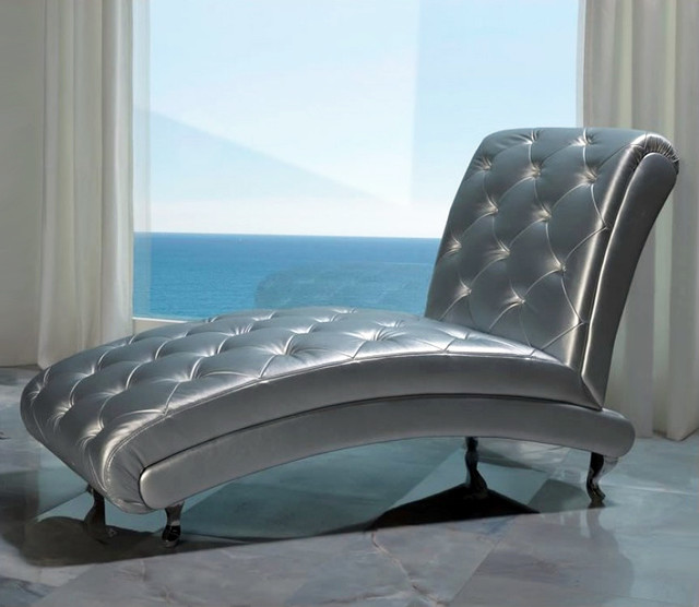 Upholstered silver b 6 chase lounge contemporary for Blue chaise lounge indoor