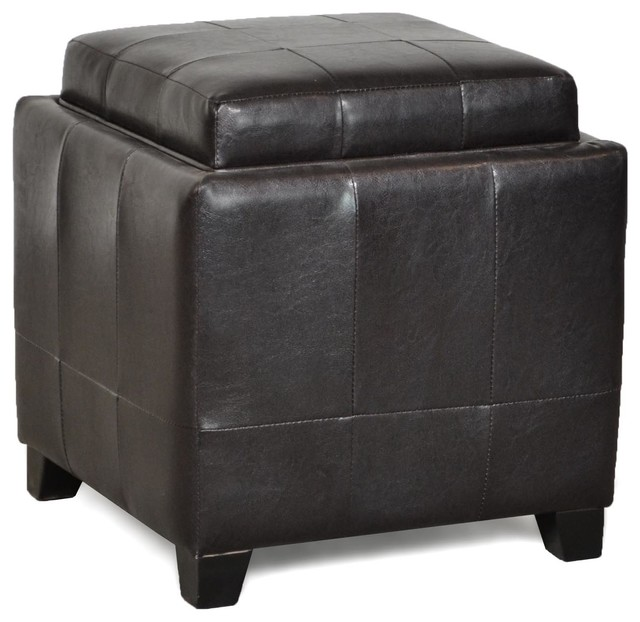 one tray espresso cocktail ottoman with storage. Black Bedroom Furniture Sets. Home Design Ideas