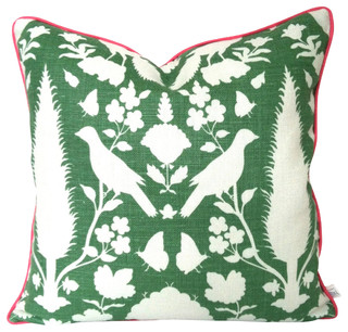 Fun and Funky Schumacher Pillow Cover in Orange and Green with Pink Piping - Contemporary ...