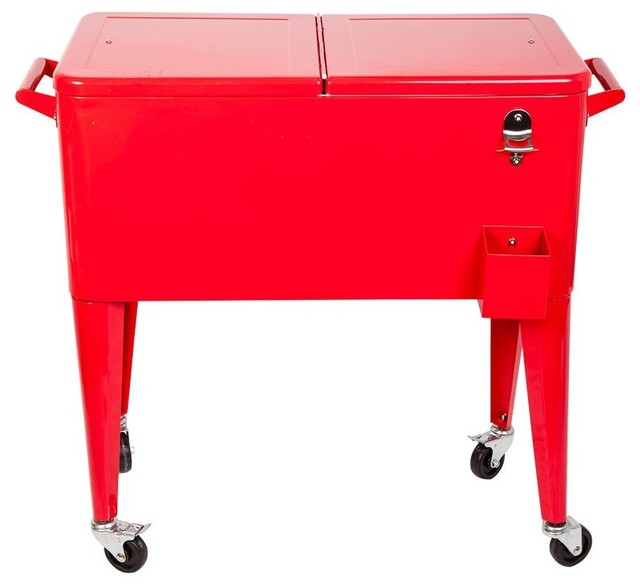 Hio 73 Qt Outdoor Patio Cooler Table On Wheels Rolling