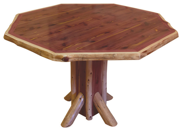 Rustic Red Cedar Log Octagon Dining Table Rustic Dining Tables