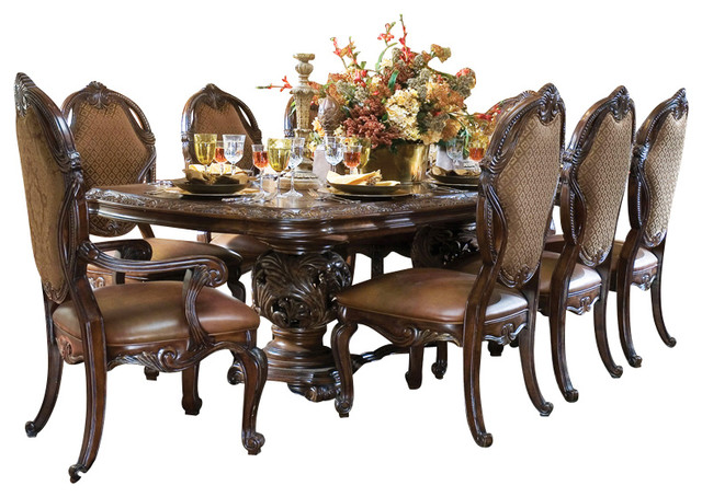 7-Piece Essex Manor Rectangular Dining Table Set, Deep English Tea Finish - Victorian - Dining ...