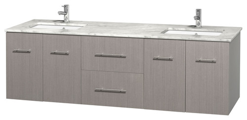 Centra 72quot; Double Bathroom Vanity, Gray Oak, Carrera Marble Top