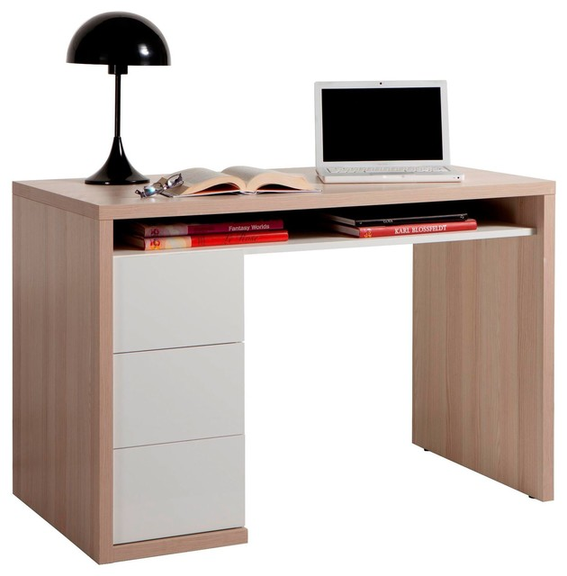 Moneta bureau bicolore avec 3 tiroirs contemporain for Meuble bureau contemporain