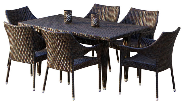 Beach Style Dining Sets: Denver 7-pieces Outdoor Wicker Dining Set