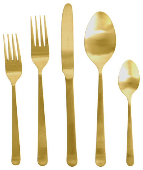 Oslo Cutlery Set 5 Piece Set Gold Contemporary Flatware And Silverware Sets