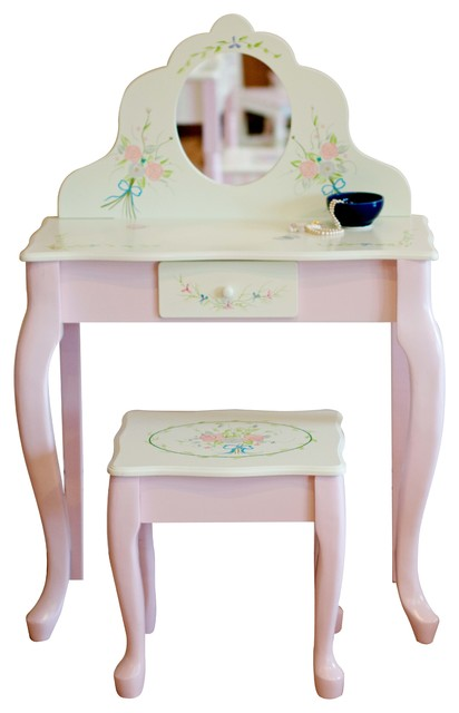 Bouquet Hand Crafted Kids Wooden Vanity Table And Stool