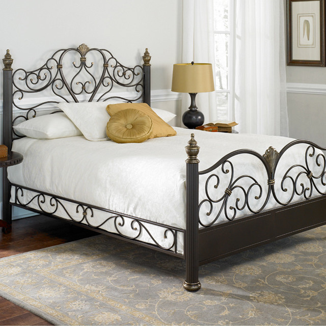 Elegance metal bed tropical beds atlanta by iron for Metal bedroom furniture