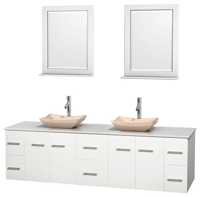 80 Double Bathroom Vanity In White White Man Made Stone Countertop 24 Mirror Contemporary
