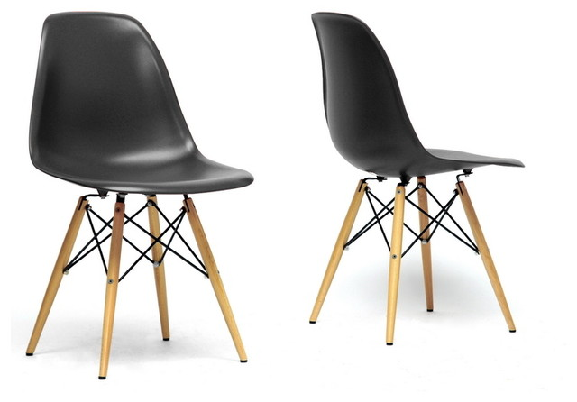 Azzo black plastic mid century modern shell chairs set of for Black plastic dining chairs