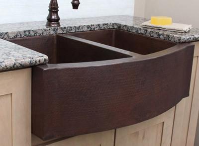 Farmhouse Sink With Two Bowls : Copper Farmhouse Sink with Double Bowls - Farmhouse - Kitchen Sinks ...