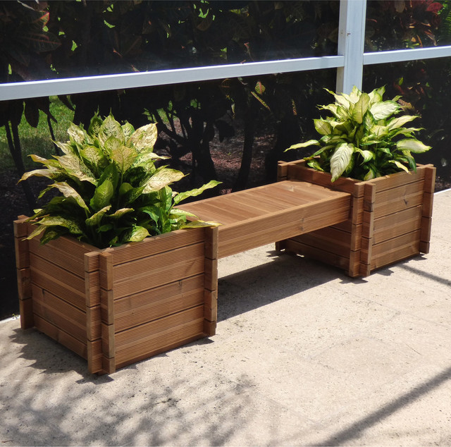 Thermod Modula Planter Box Bench Contemporary Outdoor