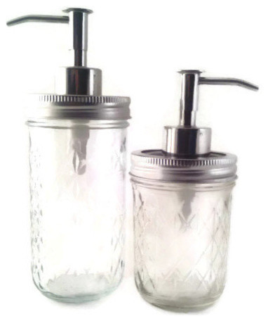 Quilted Mason Jar Soap And Lotion Dispenser Set