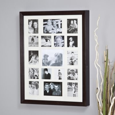 Collage Photo Frame Wooden Wall Locking Jewelry Armoire - 23W x 30H x 3.5D in. - Traditional ...