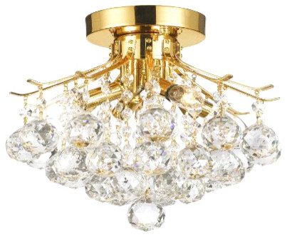 The Gallery Gold Finish Crystal Chandelier With Four Light