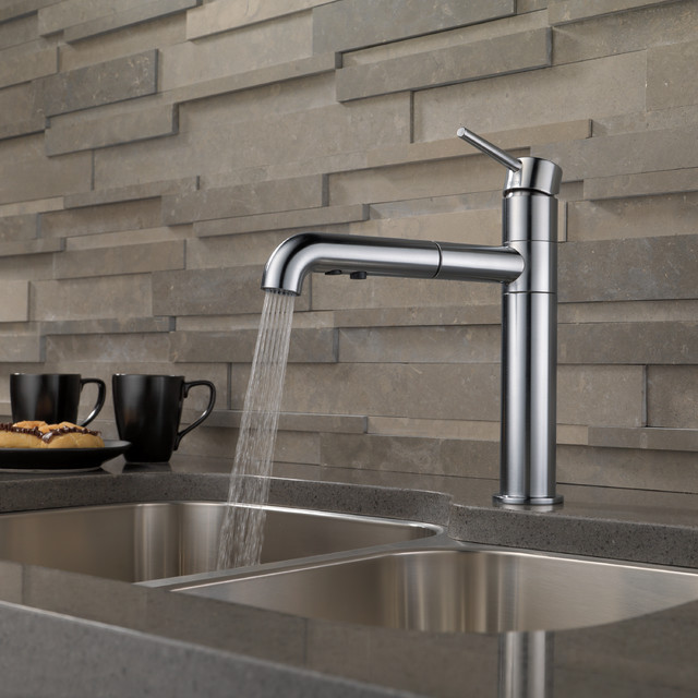 Delta trinsic single handle pull out kitchen faucet for Delta trinsic