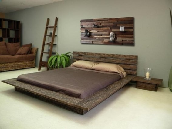 Reclaimed wood bed headboard and night stands rustic for Bedroom furniture montreal