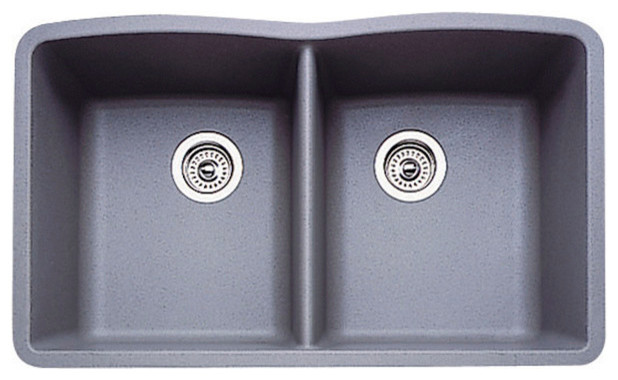Blanco drop in equal double bowl silgranit ii undermount for Silgranit ii sinks