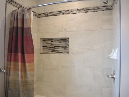 Espresso bathroom vanity - Like It Bathrm W Led Backlight Large Tile Metal Trim
