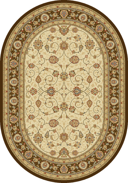 Dynamic rugs ancient garden 6 7x9 6 oval 57120 6737 ivory for 7x9 bathroom designs
