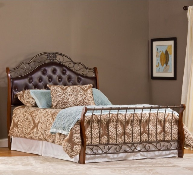 park upholstered sleigh bed multicolor 1120bqr contemporary beds