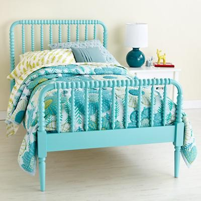 Kids Aqua Blue Spindle Jenny Lind Bed Contemporary