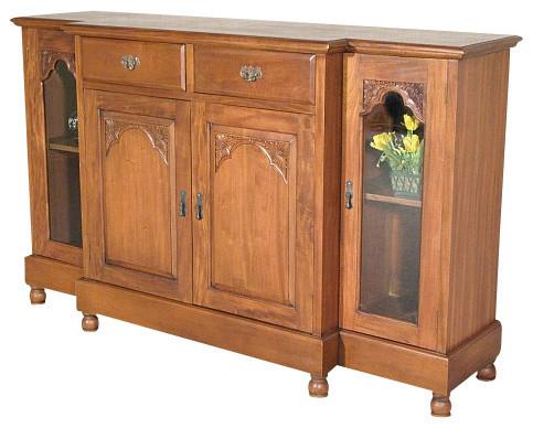 Solid Mahogany Breakfront Buffet Sideboard Server Cabinet ...