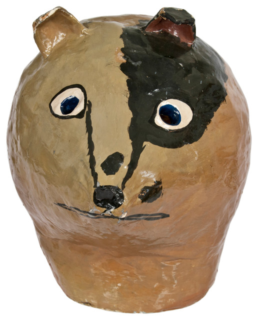 Vintage paper mach theater costume head with stand dog for Paper mache objects