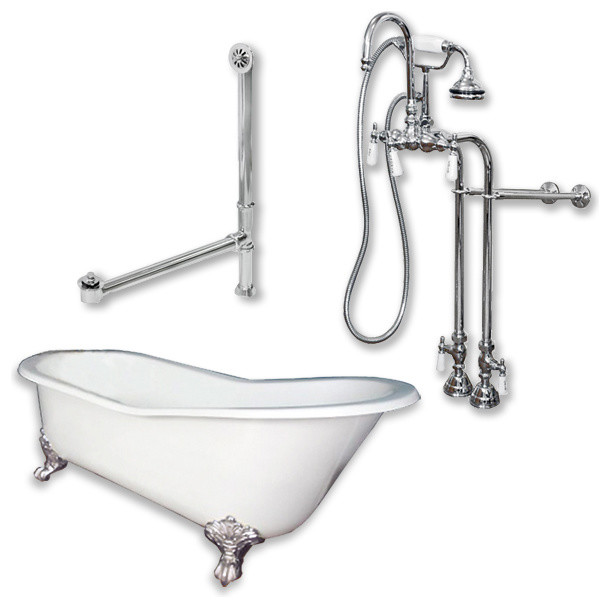 Cast Iron Slipper Clawfoot Tub 67 Standing Faucet Shower Chrome Package Traditional