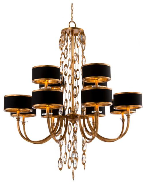john richard 12 light black tie chandelier ajc 8793. Black Bedroom Furniture Sets. Home Design Ideas