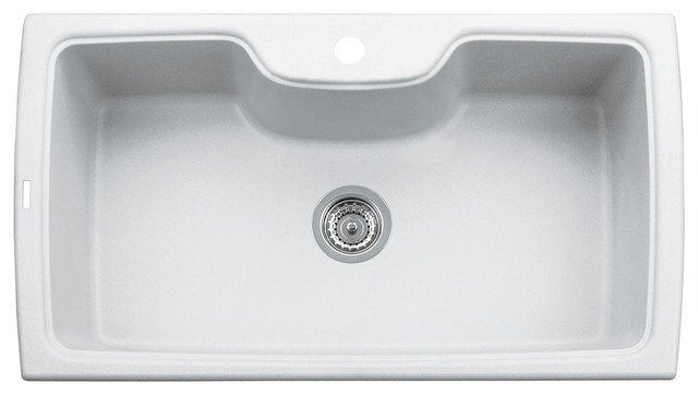 ... Single Bowl Granite Composite Kitchen Sink, White modern-kitchen-sinks