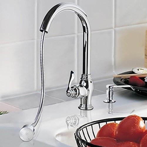 solid brass pull out kitchen faucet with color changing