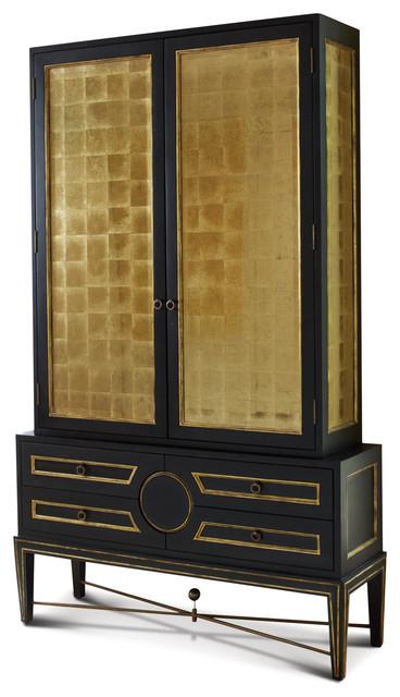 Gold Leaf Eglomise Collectors Cabinet transitional storage cabinets