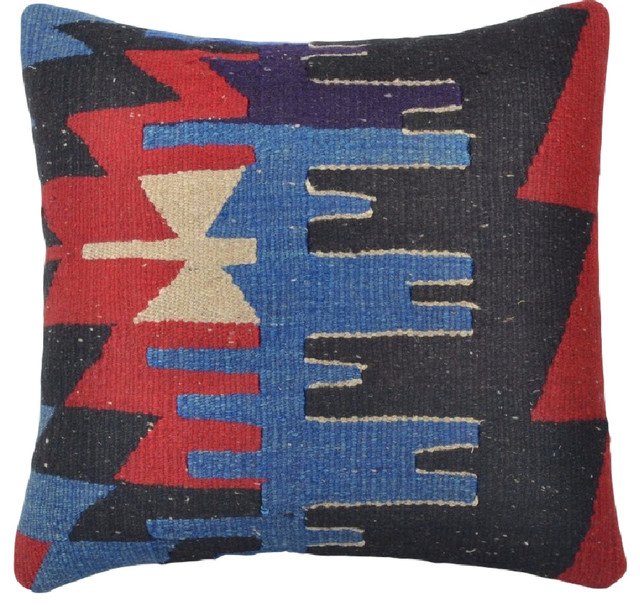 Southwestern Throw Pillow Covers : Red, White and Blue Geometric Kilim Pillow Cover - Southwestern - Decorative Pillows