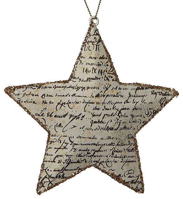 Glitter Antique Star Decoration Traditional Christmas