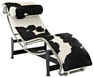le corbusier style lc4 chaise in white and black pony hide moderne chaise longue et. Black Bedroom Furniture Sets. Home Design Ideas