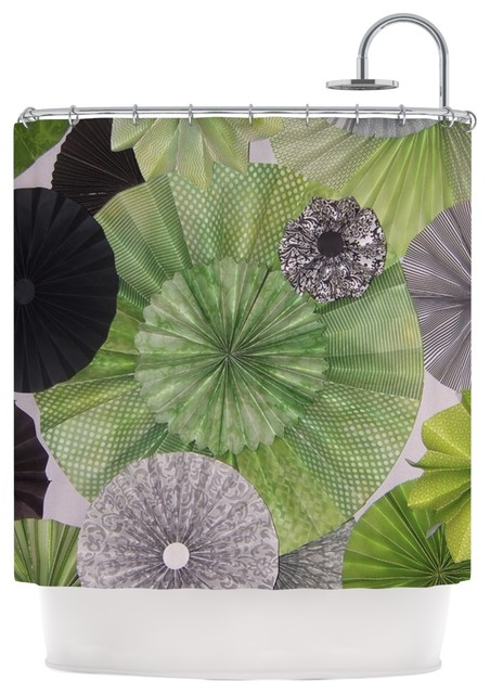 Heidi Jennings Serenity Green Grey Shower Curtain Contemporary