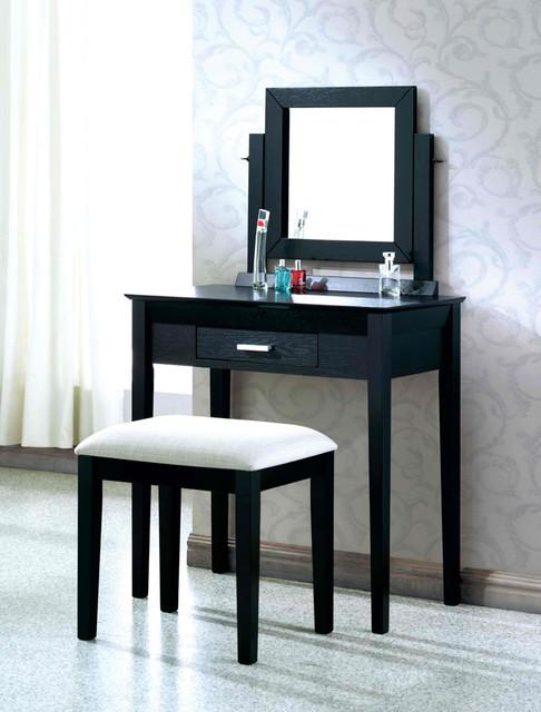 Black grain veneer 2pcs vanity set grey fabric stool by for Modern makeup vanity