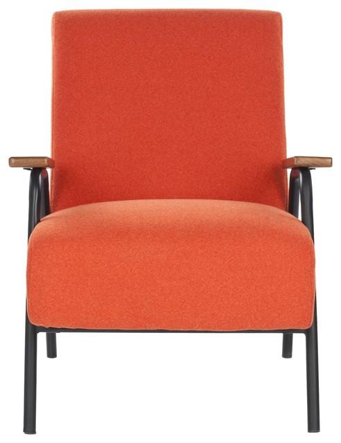 Reuben arm chair burnt orange midcentury armchairs for Burnt orange accent chair