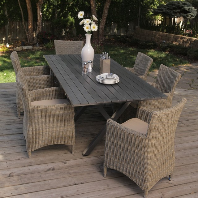 Bella all weather wicker patio dining set contemporary for All weather garden furniture