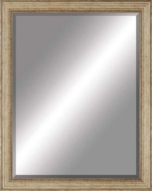 Beveled Mirror Ridged Antiqued Gold 30x40