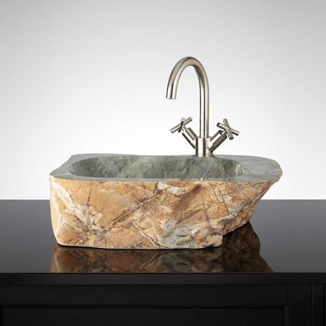 Kandi natural stone vessel sink traditional bathroom for Natural stone bathroom sinks